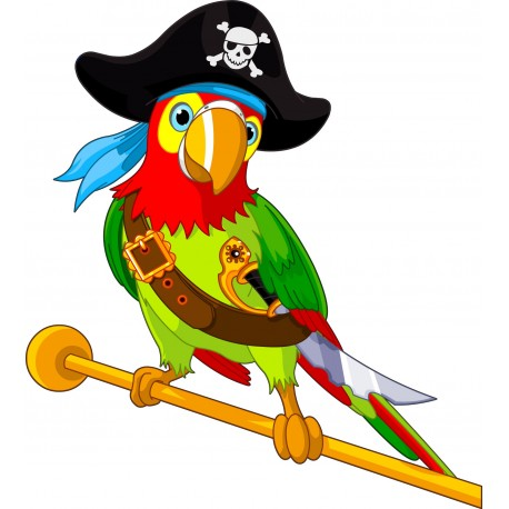 Stickers enfant perroquet pirate art d co stickers - Dessin de perroquet en couleur ...