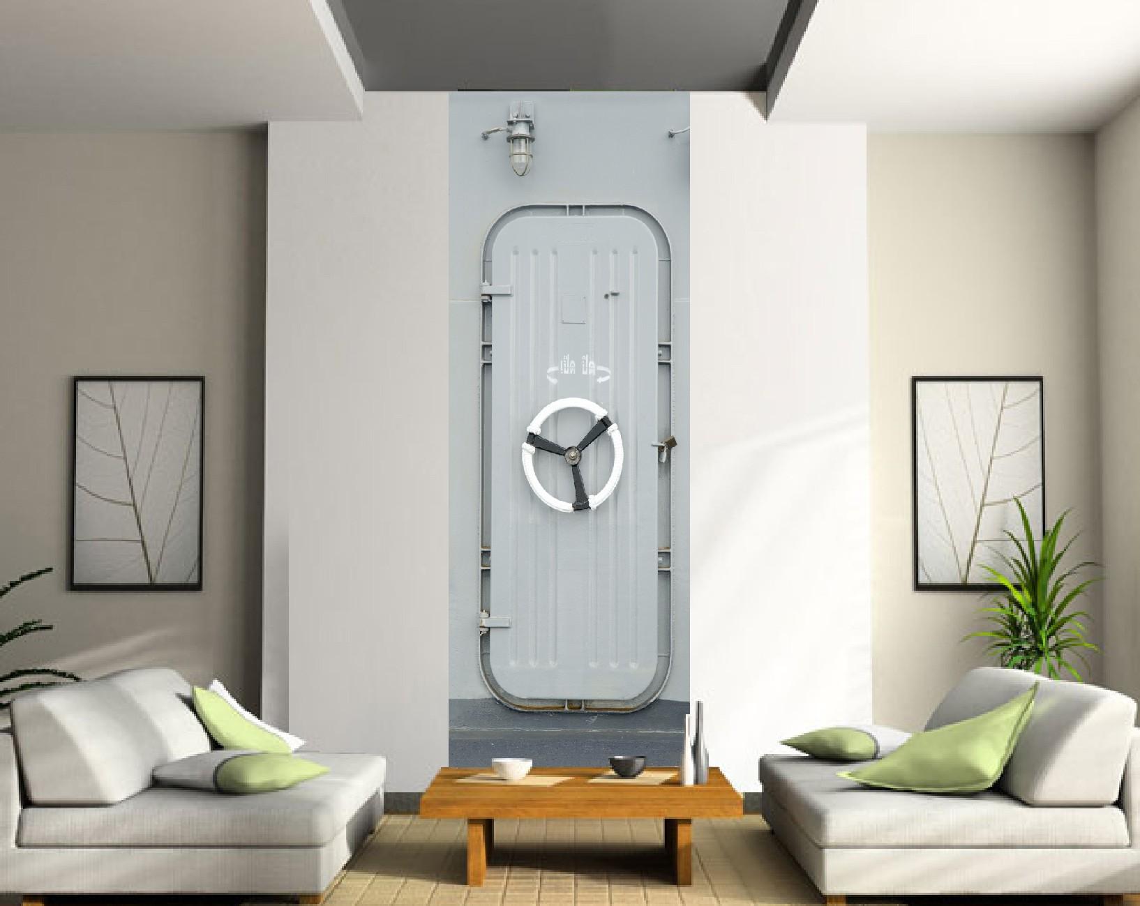 best papier peint l unique porte navire dans salon art dco. Black Bedroom Furniture Sets. Home Design Ideas