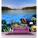 Sticker mural poissons tropicaux H 2,6 x L 2,7 mètre