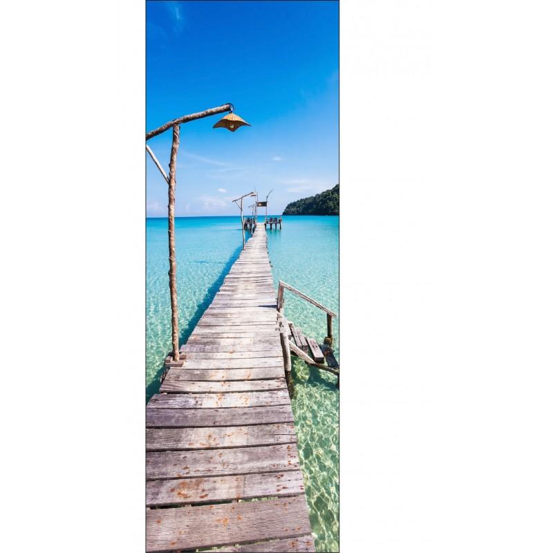 Papier peint l unique pont au bord de la mer art d co for Papier peint bord de mer
