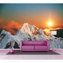 Sticker mural géant montagne couché de soleil 2,6 x3,6 m