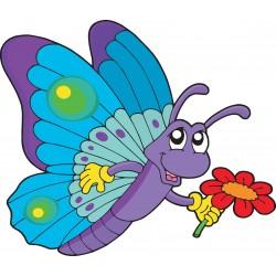 Stickers enfant Papillon fleur
