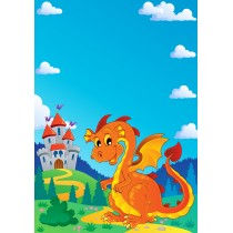 Stickers enfant géant Dragon chateau