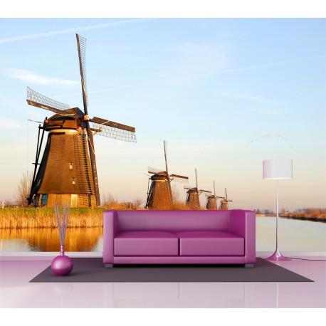 Sticker mural géant moulins a vent 2,6 x3,6 m