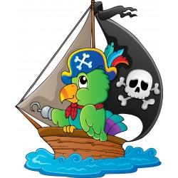 Stickers enfant Bateau perroquet pirate