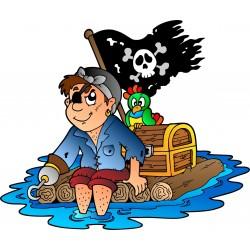 Stickers enfant Pirate sur une Ile