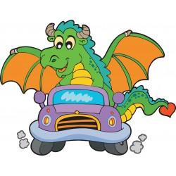 Stickers muraux enfant Dragon voiture