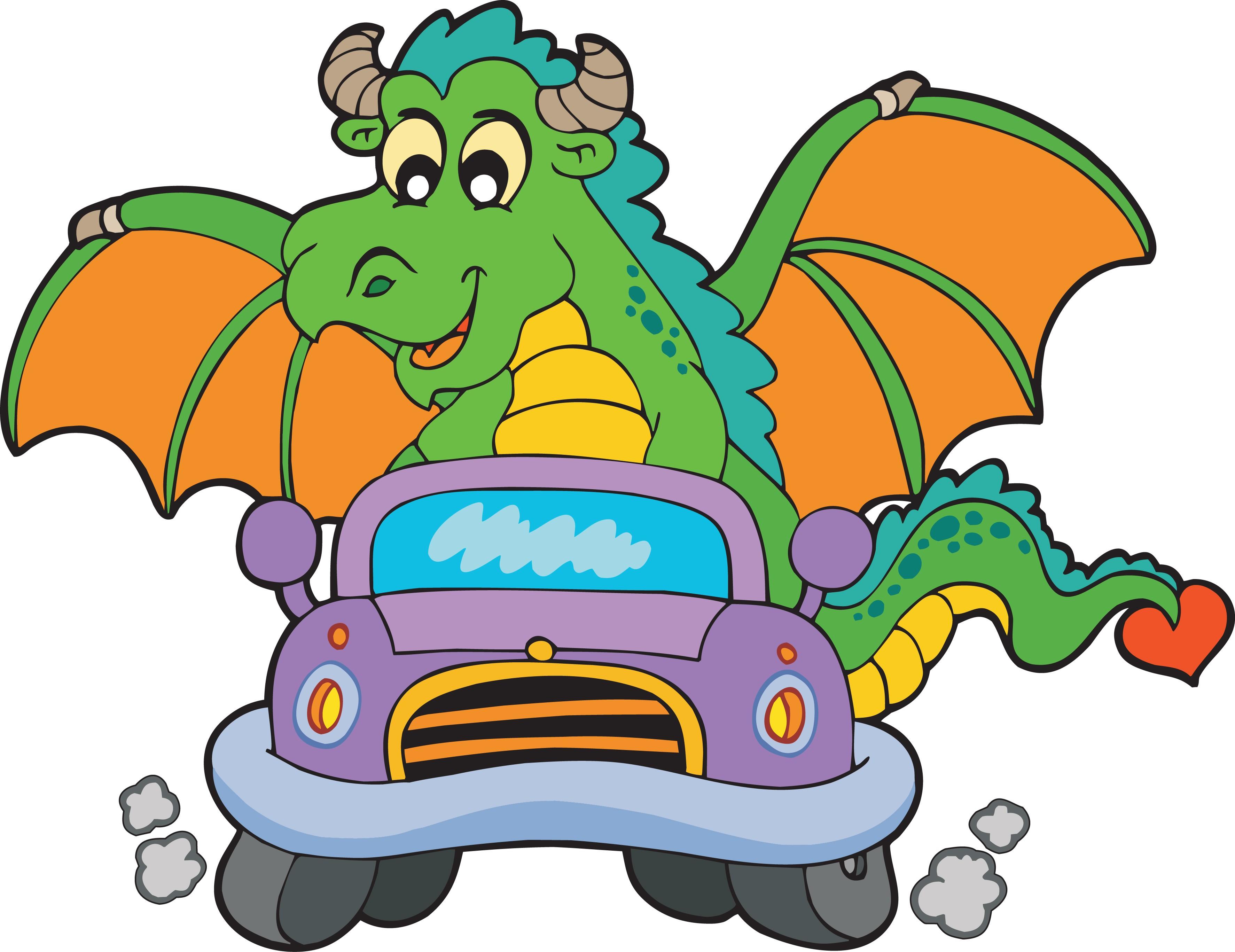 Stickers muraux enfant Dragon voiture Art Déco Stickers