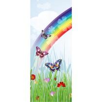 Stickers porte enfant Papillons Arc en ciel