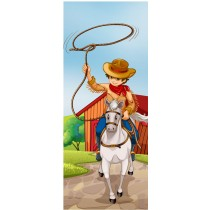 Stickers porte enfant Cow-Boy