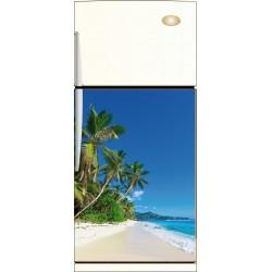 Sticker frigo palmier plage - ou Magnet frigo
