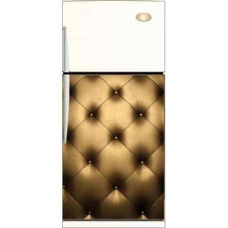 Sticker frigo capitonné doré - ou Magnet frigidaire