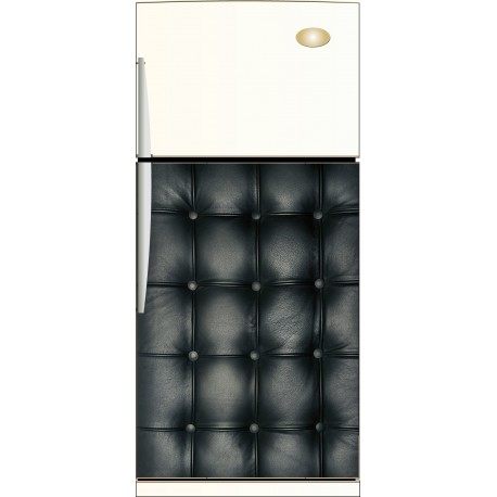 Sticker frigo capitonné cuir noir - ou Magnet frigidaire