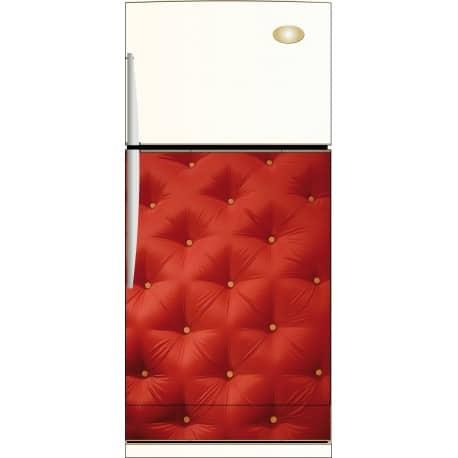 Sticker frigo capitonné rouge - ou Magnet frigo