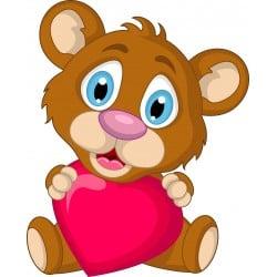 Stickers enfant Ourson coeur