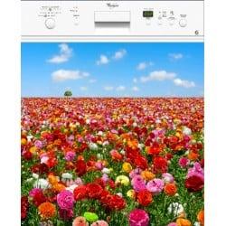 Sticker Lave Vaisselle Champ de fleurs ou magnet lave vaisselle