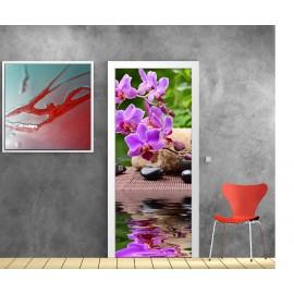 Stickers porte Orchidée reflet
