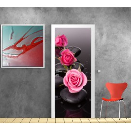 Stickers porte Roses Galets