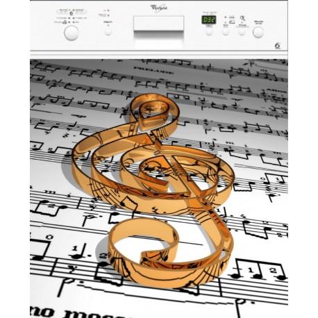 Sticker lave laisselle note de musique ou magnet lave vaisselle
