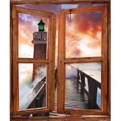 Stickers fenêtre trompe l'oeil Phare en Mer