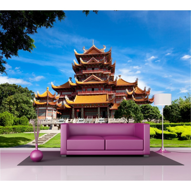 papier peint g ant temple chinois 2 5x3 6 m art d co stickers. Black Bedroom Furniture Sets. Home Design Ideas