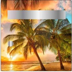 Sticker boites aux lettres Coucher de soleil sur plage 30x30cm