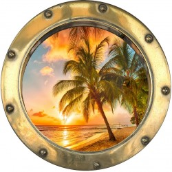 Sticker hublot trompe L'oeil Coucher de soleil sur plage