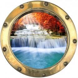 Sticker hublot trompe L'oeil Rivière en cascade