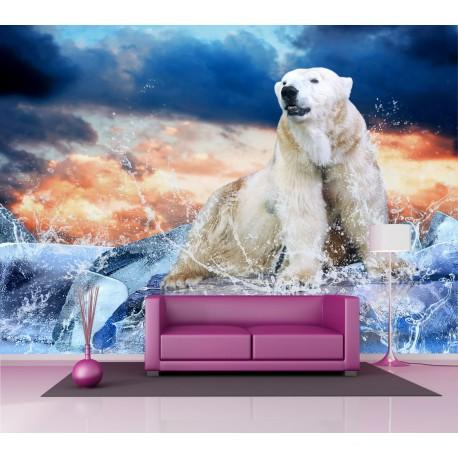 Papier peint grand format Ours polaire 2,6x3,6 m