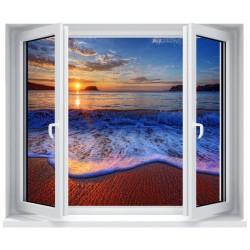 Stickers fenêtre déco : Coucher de soleil