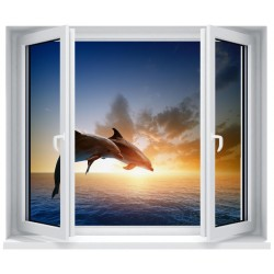 Stickers fenêtre déco : Dauphins