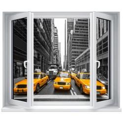 Stickers fenêtre déco : New York taxi jaune