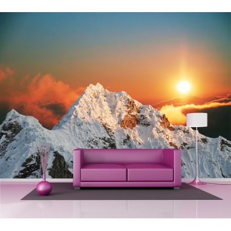 papier peint grand format montagne couch de soleil 2 5x3 6 m art d co stickers. Black Bedroom Furniture Sets. Home Design Ideas