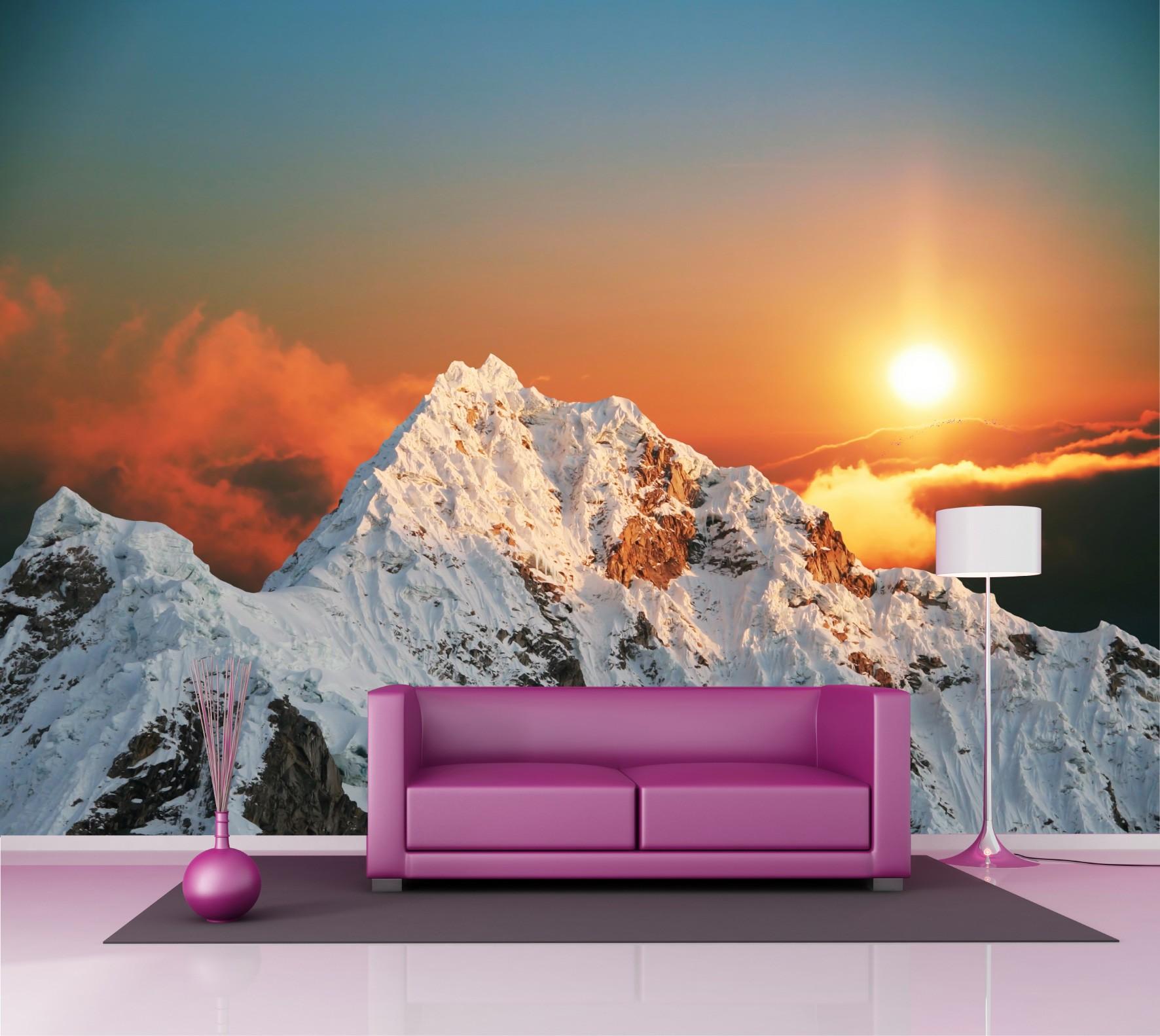 Papier Peint Grand Format Montagne Couche De Soleil 2 5x3 6 M Art