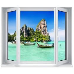 Stickers fenêtre déco : Paysage bateau