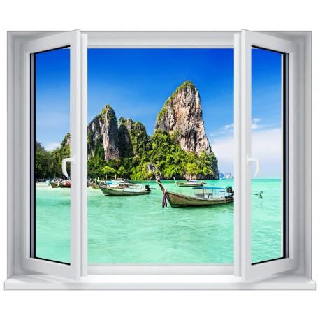 Deco Paysage stickers fenêtre déco : paysage bateau - art déco stickers