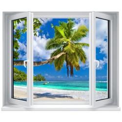 Stickers fenêtre Trompe l'oeil déco : Plage des caraibes