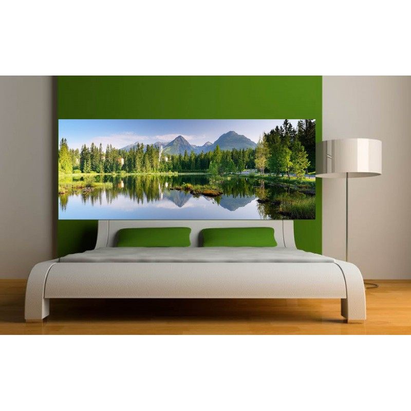 stickers t te de lit paysage lac art d co stickers. Black Bedroom Furniture Sets. Home Design Ideas