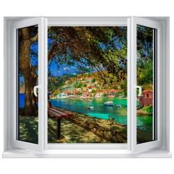Stickers fenêtre Trompe l'oeil déco : Habitation bord de plage