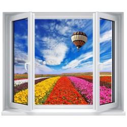 Stickers fenêtre Trompe l'oeil déco : Champs de fleurs