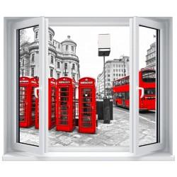 Stickers fenêtre Trompe l'oeil déco : Cabines téléphonique rouge