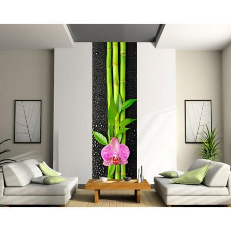 Papier peint lé unique Fleur Bambou