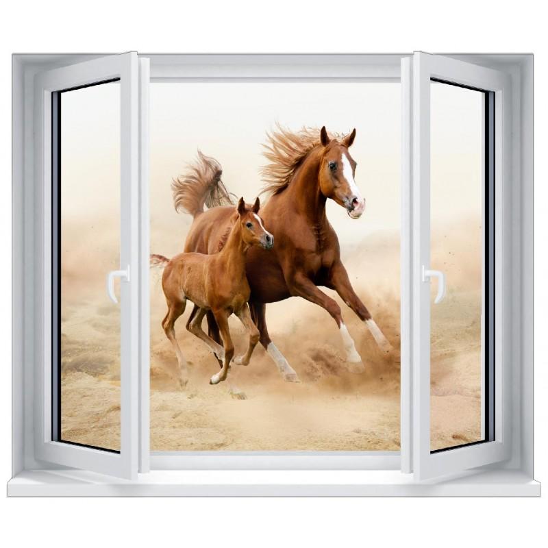 stickers fen tre trompe l 39 oeil d co cheval et son poulain art d co stickers. Black Bedroom Furniture Sets. Home Design Ideas
