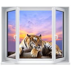 Stickers fenêtre Trompe l'oeil déco : Tigre