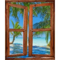 Stickers fenêtre trompe l'oeil Sous les tropiques