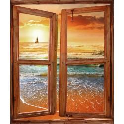 Stickers fenêtre trompe l'oeil Coucher de soleil bord de plage