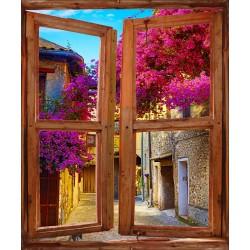 Stickers fenêtre trompe l'oeil Vue sur ruelle fleurie