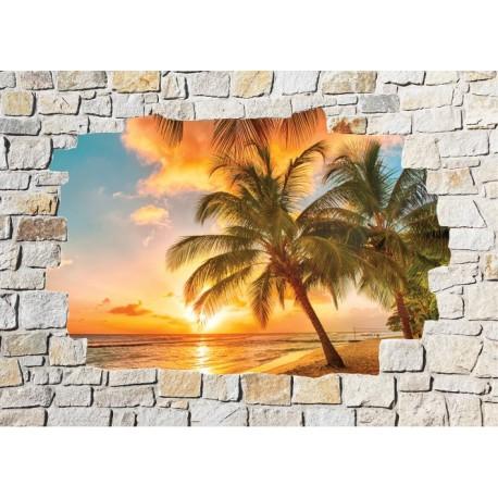 Stickers mural trompe l 39 oeil pierre d co palmiers art - Deco trompe l oeil mural ...