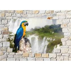 Stickers mural trompe l'oeil pierre déco Perroquet