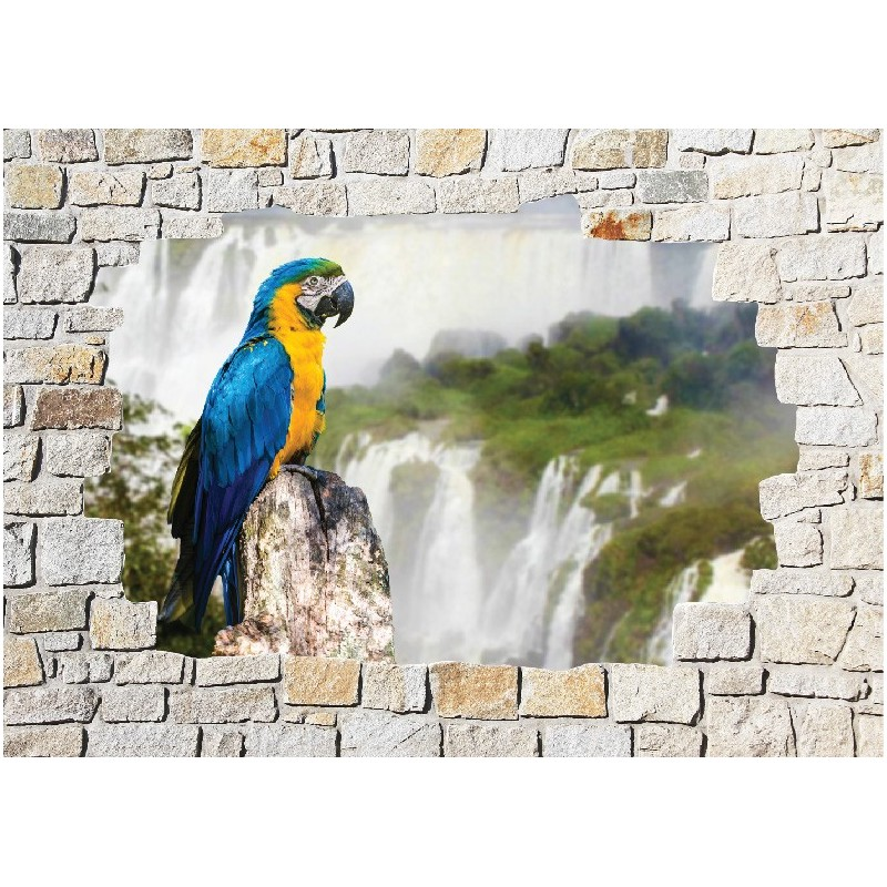 Stickers mural trompe l 39 oeil pierre d co perroquet art - Sticker trompe l oeil mural ...